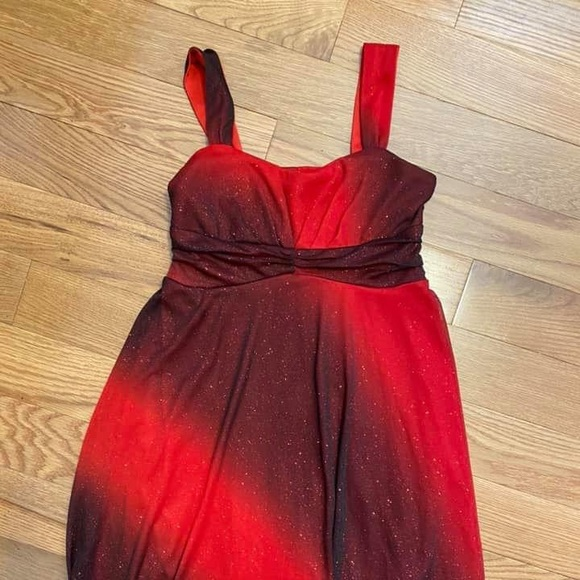 Red & black sparkly Strappy dress knee length 12
